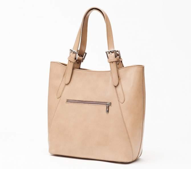 Ceremonia Shopper Bag Torebka 100% Skóra Beż T4