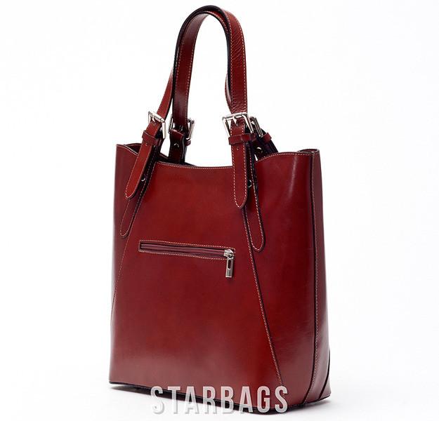 Ceremonia Shopper Bag Torebka 100% Skóra Koniak T4