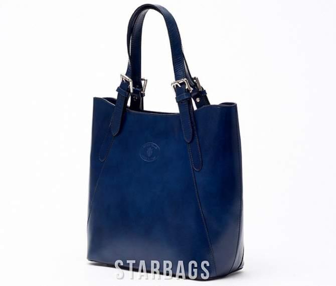Ceremonia Shopper Bag Torebka 100% Skóra Granatowy T4